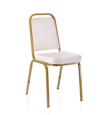 a gold metal framed banquet chair with ivory coloured seat pad