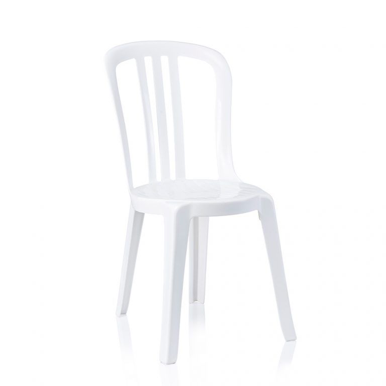 a white bistro chair that can be hired for a range of events and made from plastic