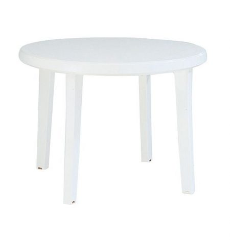 white patio table hire for events in the United Kingdom. A white plastic table with four legs