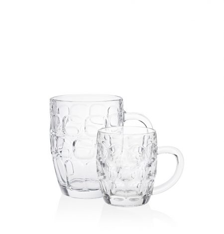 A half pint dimple and pint dimple beer glass pictured together