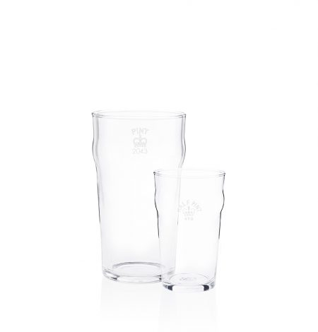 An image of a half pint nonic and pint nonic beer glass together side by side