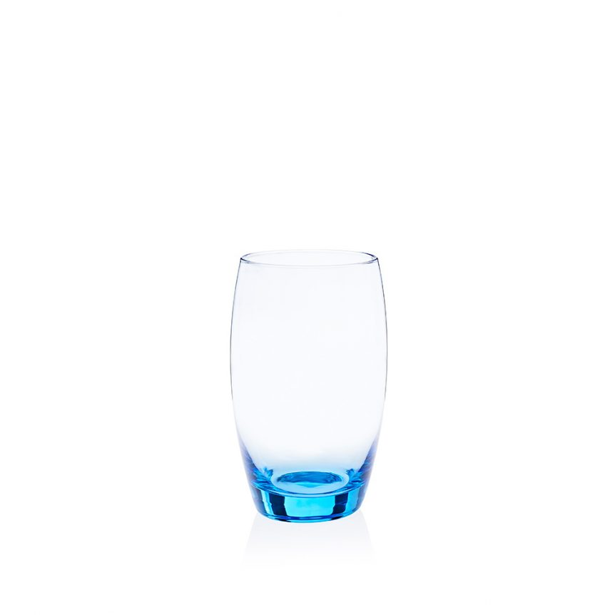A blue water glass ideal for weddings.