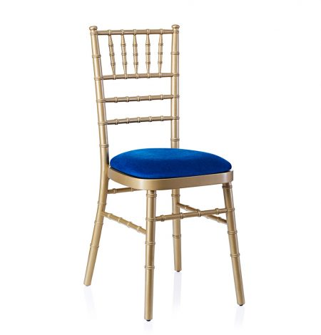 event hire chivari chair gold electric blue