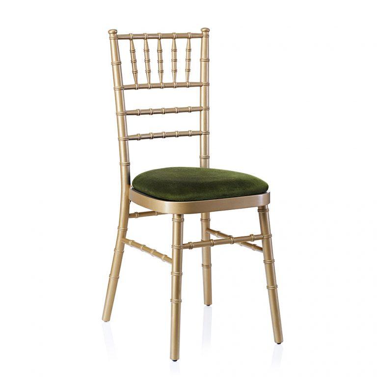 event hire chivari chair gold green