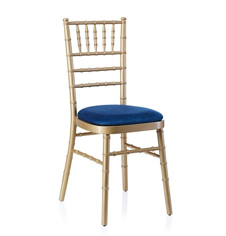event hire chivari chair gold navy blue