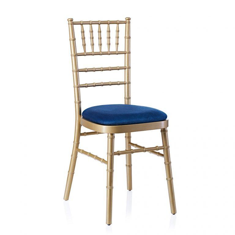 event hire chivari chair gold navy blue