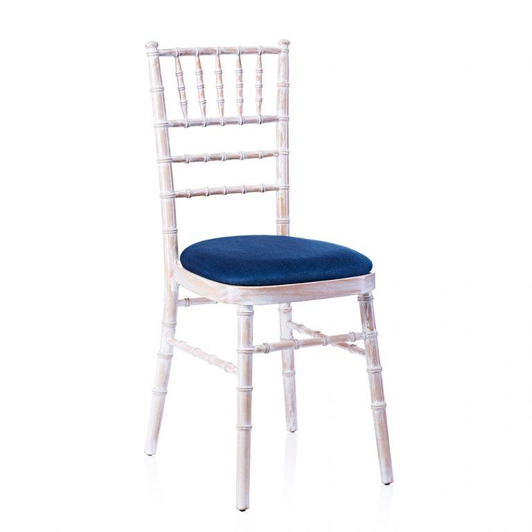 event hire chivari chair limewash navy