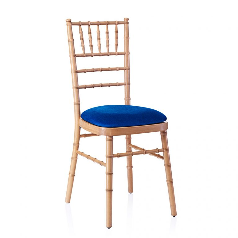 event hire chivari chair natural electric blue