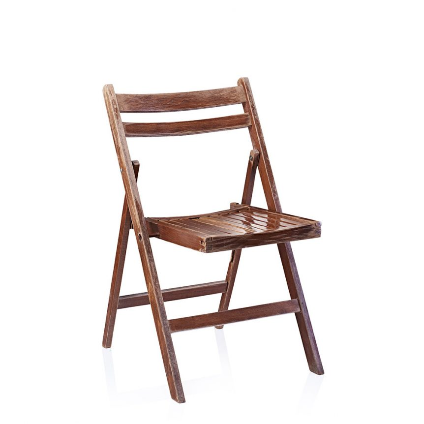 a brown wooden folding chair ideal for a rustic or vintage wedding