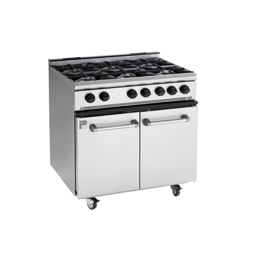 a stainless steel six burner range oven that is used in temporary kitchens and ideal oven hire
