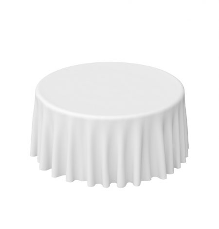 a white round tablecloth that is part of a round linen hire service