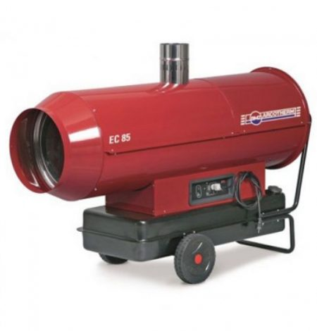 A marquee heater that provides clean warm air and runs on red diesel.