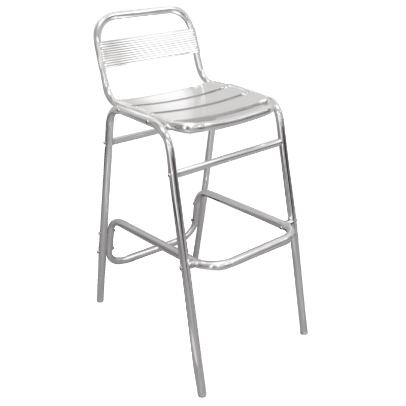 an aluminium bar stool with a foot rest. Ideal for wedding marquees