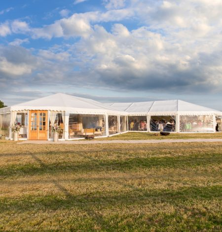 clearspan marquee hire for a wedding that has been erected in a Dorset field