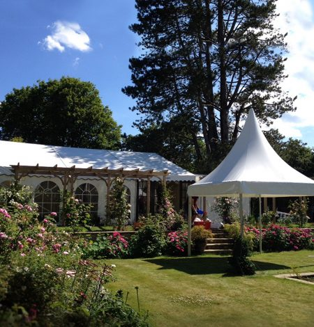 Pagoda Marquee Hire on a beautiful summers day in Dorset