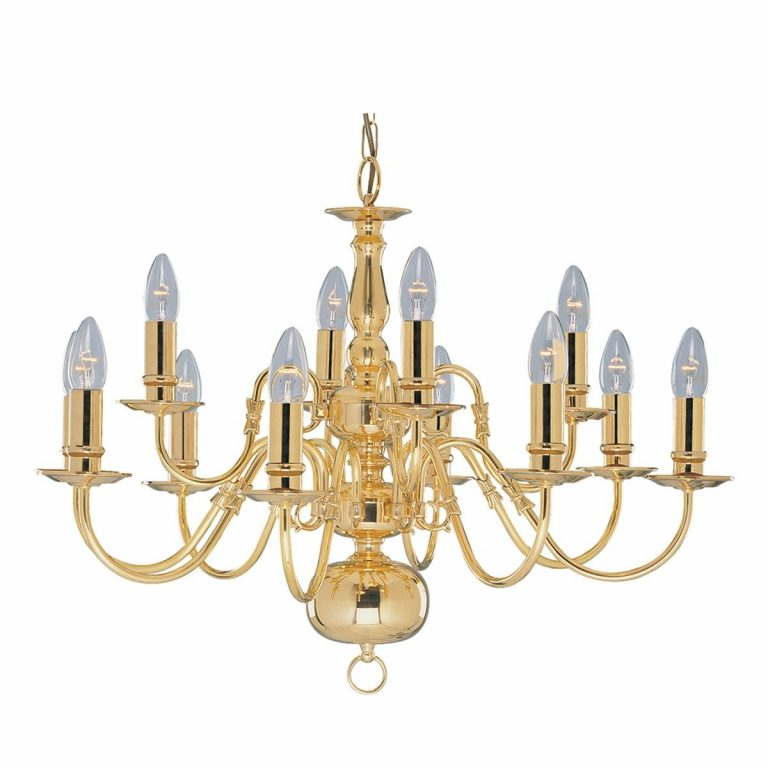 A marquee chandelier that is made of brass and has 12 arms