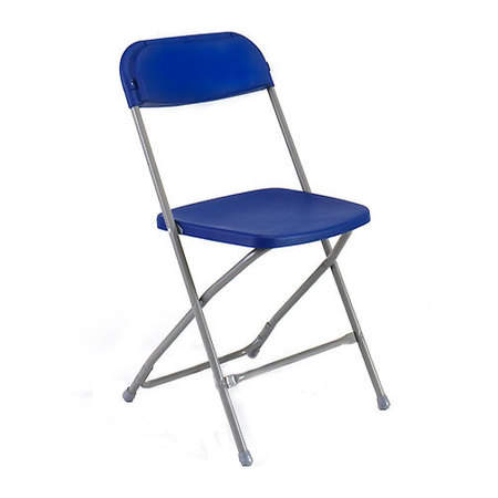 a blue samsonite folding chair that can be used for conferences