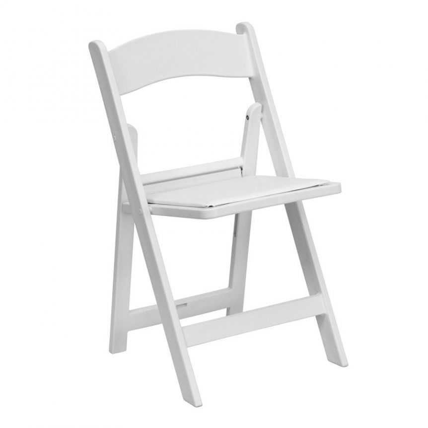 a white folding chair with a built in seat pad