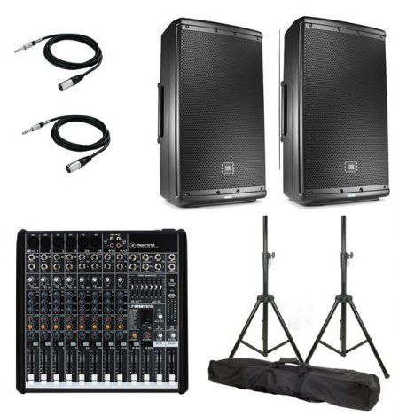 a pa and sound system hire package that includes a mixing console and two speakers