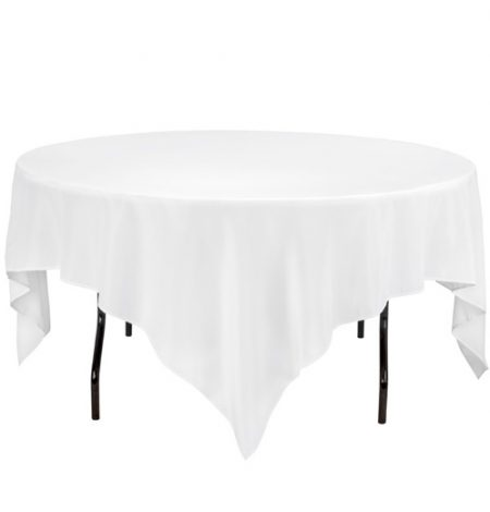 a 90 x 90 inch square tablecloth that can cover round tables or be used as a slip cloth