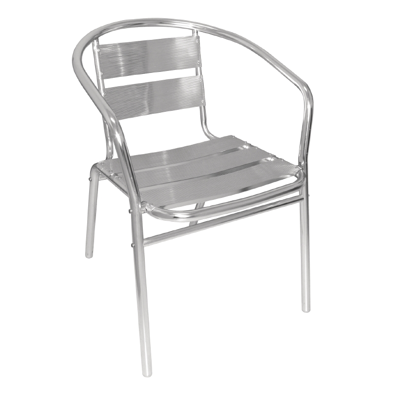 A chrome & aluminium bistro chair