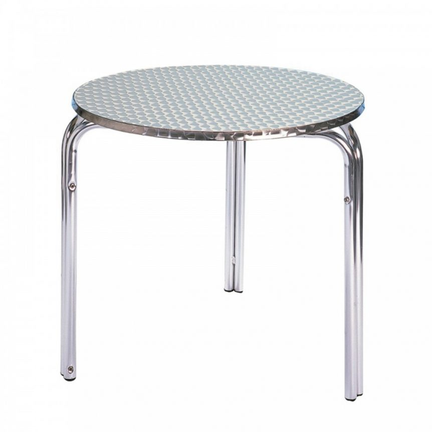 an aluminium bistro table that can be hired for events. They are ideal for outdoor use