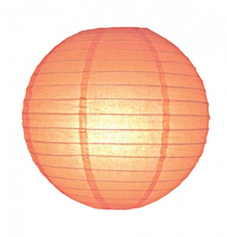 wedding lanterns that are peach colour. Made from paper over a wire frame