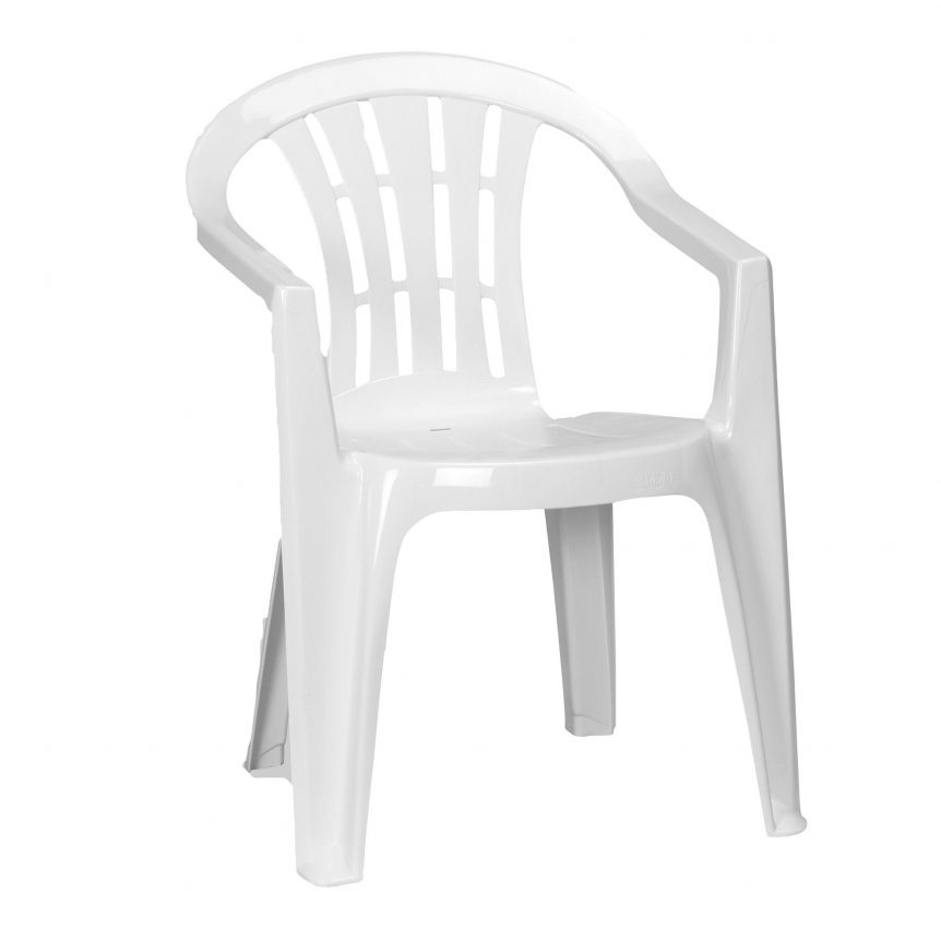 a white patio chair that can be hired for parties in dorset