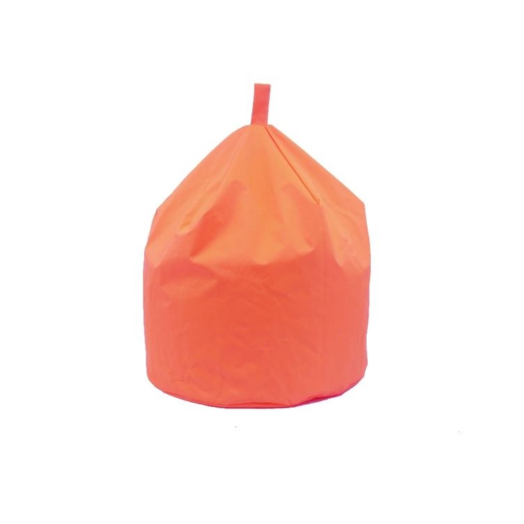 an orange bean bag that can be used by adult or children indoor or out.