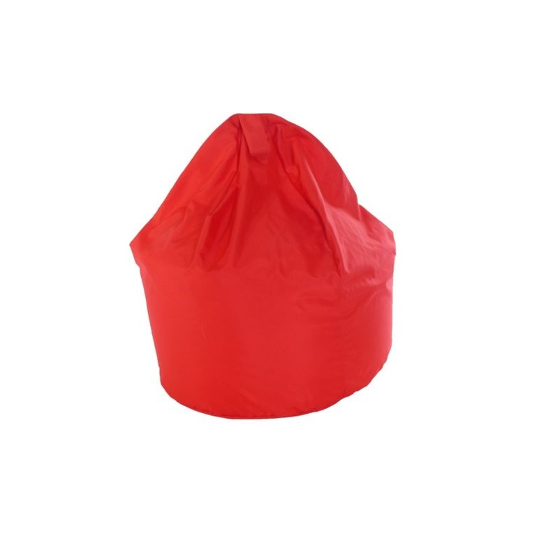 a red bean bag that can be hired for outdoor parties, weddings and events and is ideal for adults and children