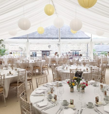 A panoramic marquee gable and lanterns