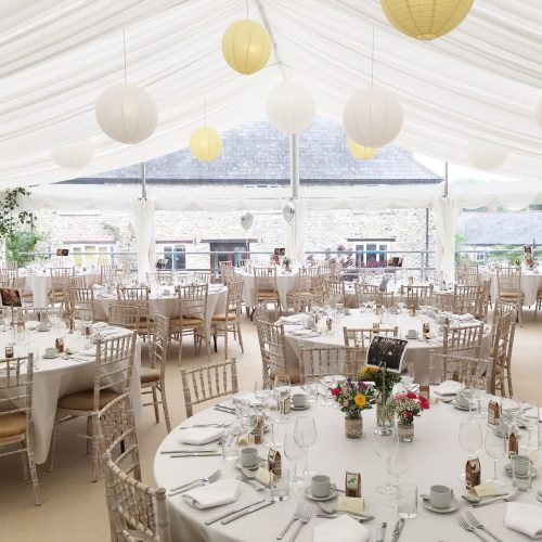 A pagoda marquee in a beautiful Dorset garden. Marquee hire Dorset provided by Rochesters Event hire