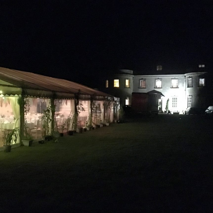 Winter marquee hire, marquee pictured at night in Dorset