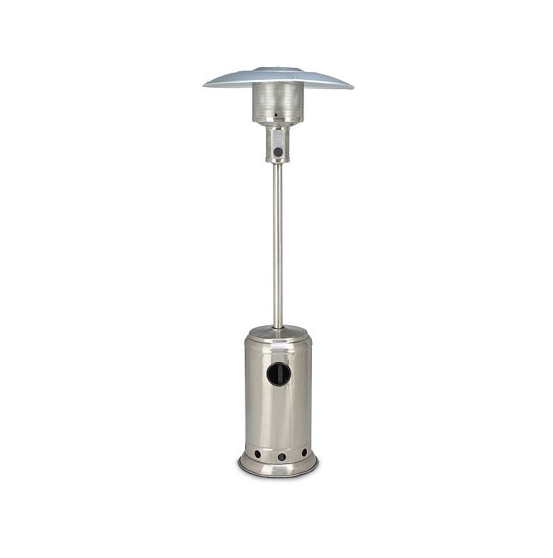 a stainless steel patio heater available for hire